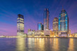 Skyline of Jersey City, New Jersey from New York Harbor