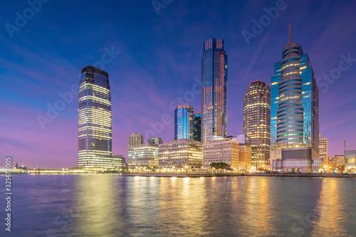 Obraz na plátne Skyline of Jersey City, New Jersey from New York Harbor