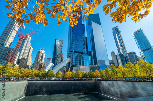 fototapeta na drzwi i meble 9/11 Memorial at World Trade Center Ground Zero in downtown Manhattan,