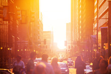 Crowd Over Sunset In Downtown Philadelphia Sun Lit Street In The Evening