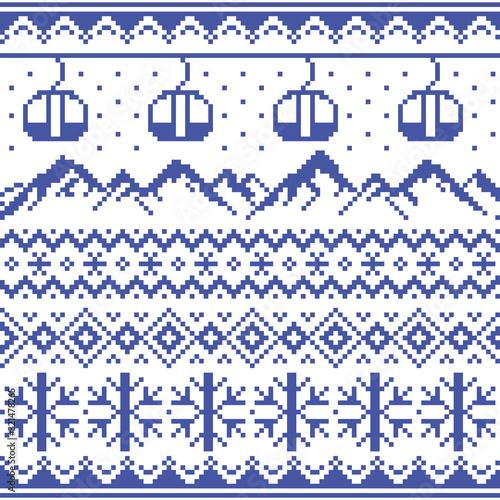 Valokuva Mountains and gondolas ski and snowboard vector seamless pattern -  Fair Isle st