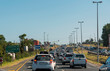 canvas print picture - Somerset West, Western cape, South Africa. Dec 2019.  Traffic congestion on the R44 highwat approaching Somerset West at rush hour