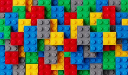Pozadina raznobojnih plastičnih blokova