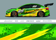 Race Car Livery Design Vector. Graphic Abstract Stripe Racing Background Designs For Vinyl Wrap, Race Car, Cargo Van, Pickup Truck And Adventure. Full Vector Eps 10.