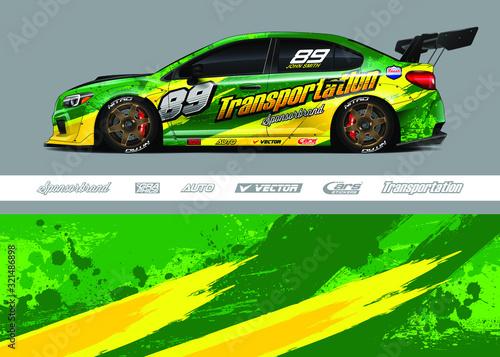 Fényképezés Race car livery design vector