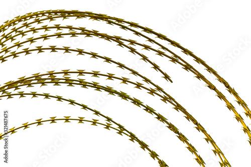 razor barbed wires isolated on white Slika na platnu