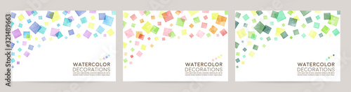 watercolor vector colorful background card : blue pink green