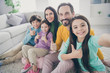 canvas print picture - Self-portrait of nice attractive lovely glad big full cheerful cheery family pre-teen kids mom dad showing thumbup at light white interior style house apartment living-room