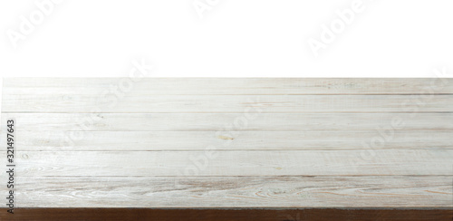 Wooden shelf isolated on white Canvas Print