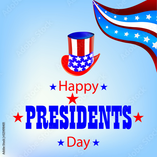 Vászonkép Banner with hat and flag for Presidents Day, vector art illustration