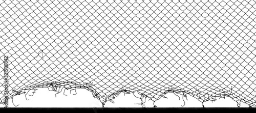 damage wire mesh of fence Fototapet