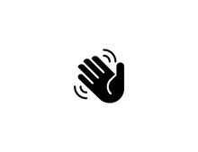 Waving Hand Vector Flat Icon. ...