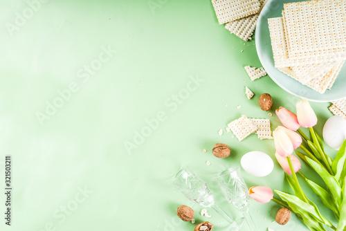 Fototapeta Pesah, jewish Passover holiday background obraz