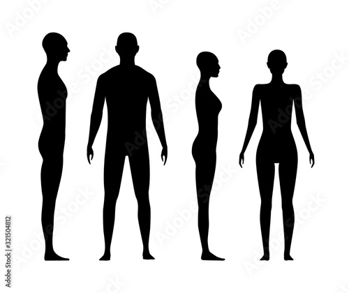 Fotomural Front and side view human body silhouette of an adult man and a women