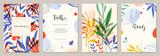 Zestaw abstrakcyjnych kreatywnych uniwersalnych szablonów artystycznych. Dobry do plakatów, kart, zaproszeń, ulotek, okładek, banerów, afisz, broszur i innych projektów graficznych.