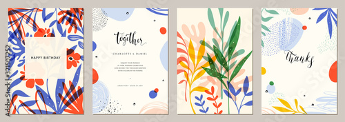 Obraz Set of abstract creative universal artistic templates. Good for poster, card, invitation, flyer, cover, banner, placard, brochure and other graphic design. - fototapety do salonu