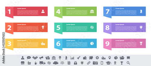 Fotografía Infographic design business concept vector illustration with 9 steps or options