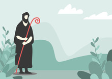 Shepherd, White Background, Used For Media Design It Is A Vector Image Style.