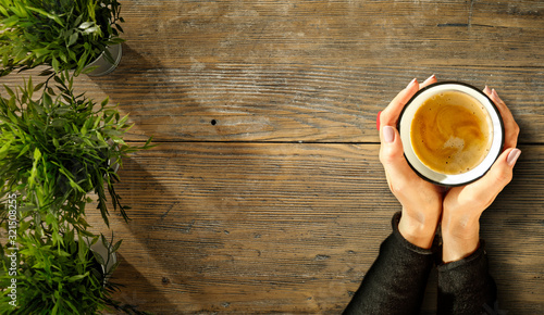 Wooden board of free space for your decoration and coffee time.