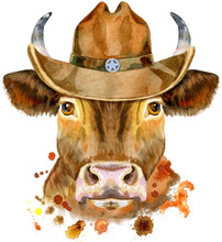 Watercolor Illustration Of A Red Bull In A Cowboy Hat