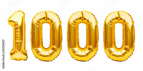 Canvastavla Number 1000 one thousand made of golden inflatable balloons isolated on white