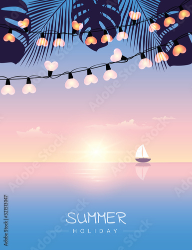 summer holiday sail boat on the sea at sunset with palm leaves and fairy light v Obraz na płótnie