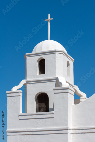 Bell tower of historic Old Adobe Mission in Old Town Scottsdlae, Arizona Canvas Print
