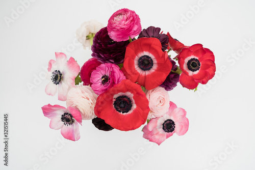Pink blush and maroon ranunculus and anemone flowers flat lay Wallpaper Mural