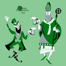St Patrick (Apostle Of Ireland) And Leprechaun Holding Beer Jugs And Dancing. Saint Patrick's Day.