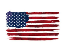 Watercolor Flag Of America. US...
