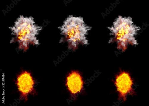 many round explosions of rocket interception blast or anti air gun shell hit or Canvas Print