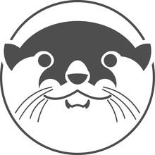 Logo Design Silhouette Character Otter