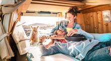 Hippie Couple Amd Dog Travelin...