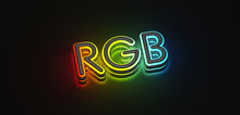 RGB Letters With Lights On Dar...