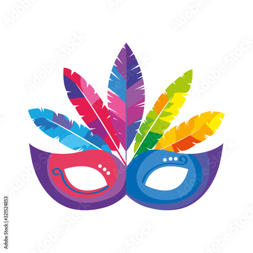 Obraz mask carnival with feathers isolated icon vector illustration design - fototapety do salonu