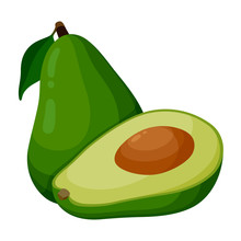 Green Avocado Icon Isolated On White Background