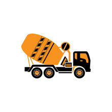 Concrete Mixer Truck Icon Vector