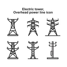 Electric Tower, Overhead Power Line Icon Template Black Color Editable. Electric Tower, Overhead Power Line Icon Symbol Flat Vector Illustration For Graphic And Web Design.