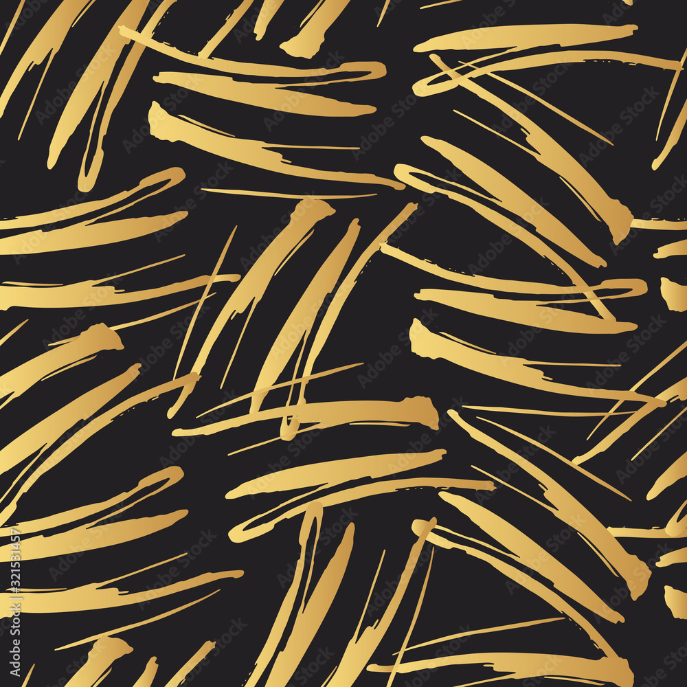 Vector golden marker stripes seamless pattern. Distressed brush smear texture. Gold isolated paintbrush strokes background for fabric. Chinese rough dirty textile backdrop.