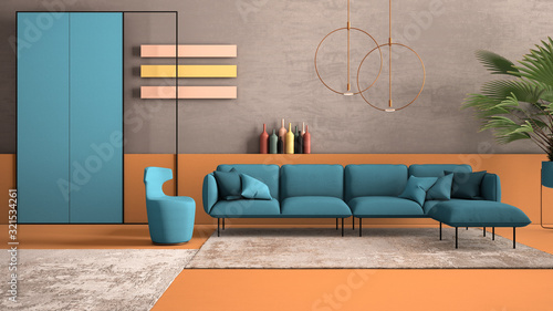Orange And Light Blue Colored Contemporary Living Room Pastel Colors Sofa Armchair Carpet Concrete Walls Potted Plant Copper Lamp Interior Design Atmosphere Architecture Idea Buy This Stock Illustration And Explore Similar