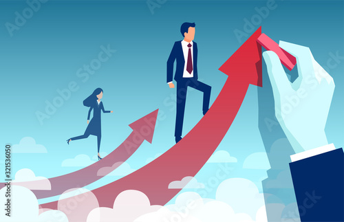 Vector of a businesswoman climbing up her own career path while businessman bein Canvas Print