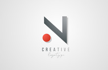 Letter N Logo Alphabet Icon Design Template Elements In Grey And Red For Business