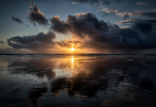 UK, Wales, Pembrokeshire, Freshwater West Beach At Dramatic Sunset