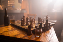 Old Wooden Chess Board And Dri...