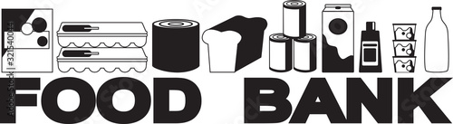 Cuadros en Lienzo Food bank banner with different food items, no white objects, black silhouette,