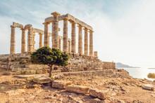 Ancient Ruin Of Poseidon Temple, Cape Sounion, Attika, Greece