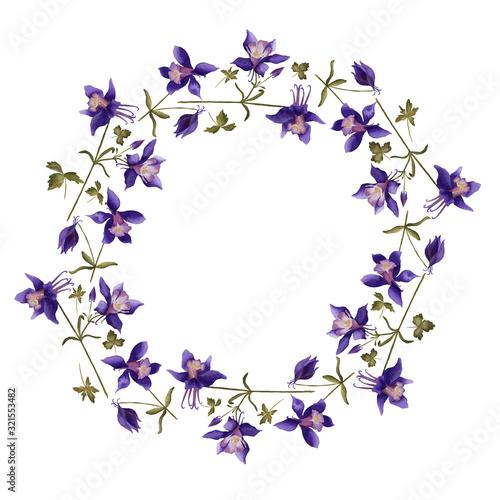 Fototapeta Watercolor wreath of aquilegia flowers; purple flowers wreath; raster illustrati