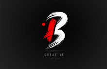 Brush Stroke Letter B Logo Alphabet Icon Design Template In White And Red For Business