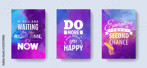 Fotografía Set of posters with motivation and inspiration quotes on abstract watercolor ba