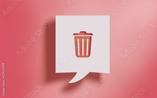 Trashcan Symbol in Square Speech Bubble on Living Coral Background Canvas Print